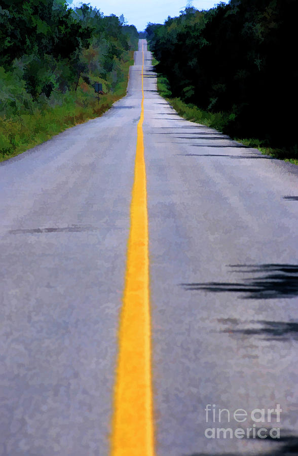 Yellow Dividing Line Marking An Empty Road Between Uxmal And Kabah Photograph