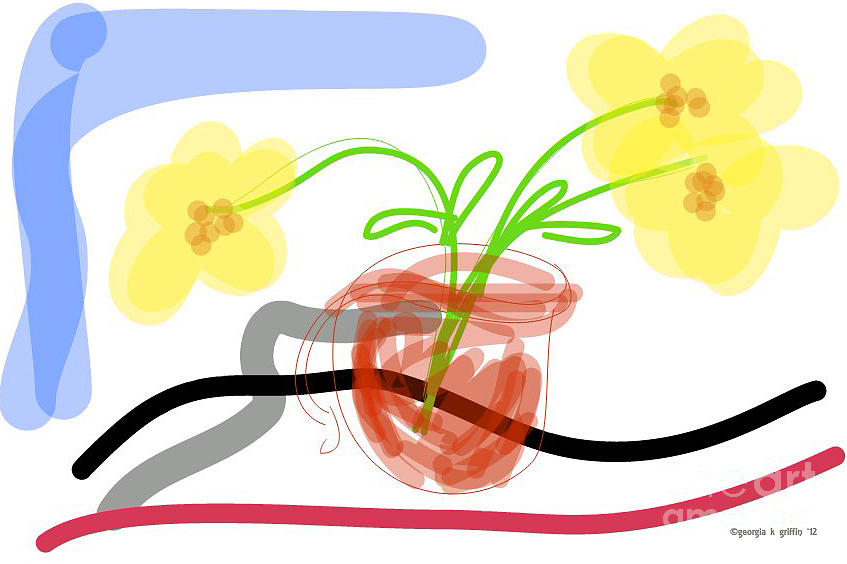 Yellow Flowers In Red Cup Painting