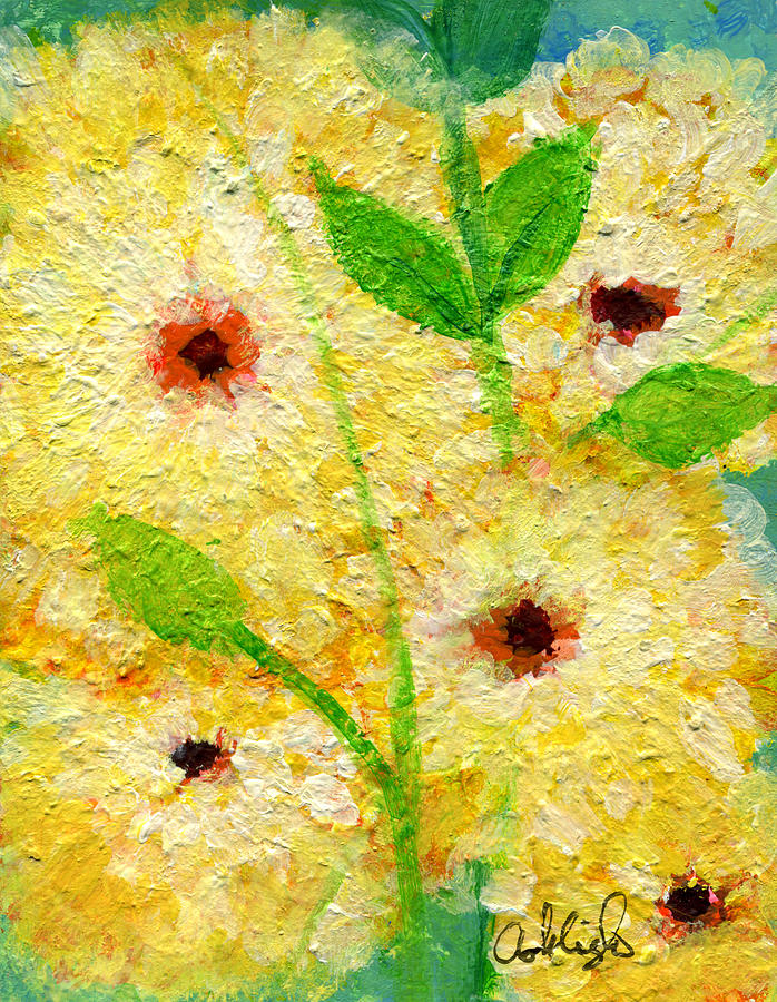 Yellow Flowers Laugh In Joy Painting  - Yellow Flowers Laugh In Joy Fine Art Print