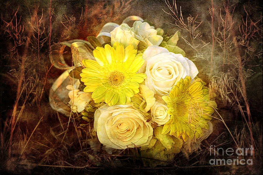 Yellow Gerbera Daisy And White Rose Bridal Bouquet In Nature Setting Photograph