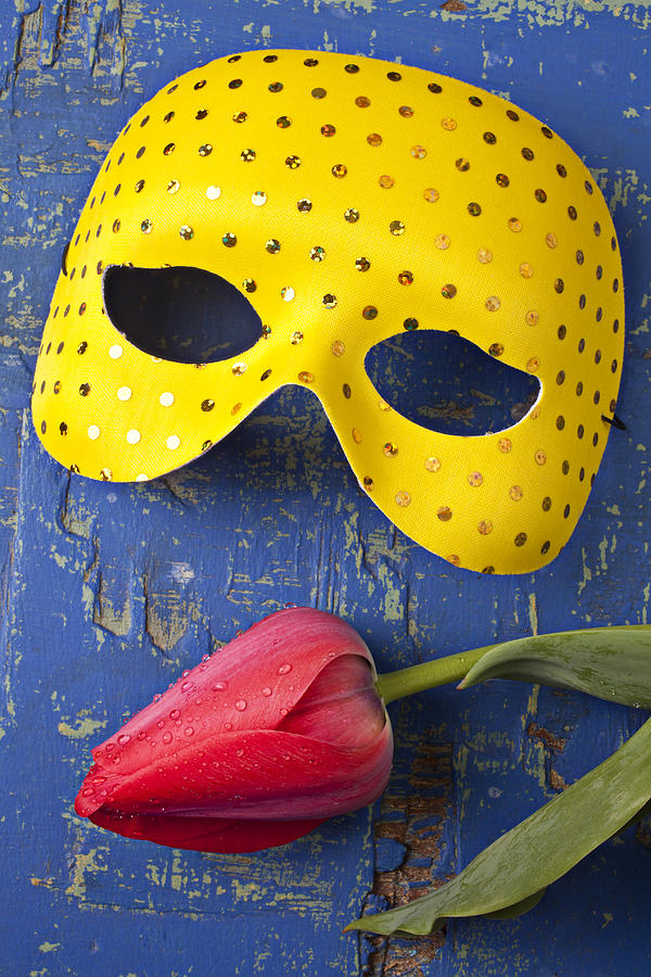 Yellow Mask And Red Tulip Photograph  - Yellow Mask And Red Tulip Fine Art Print