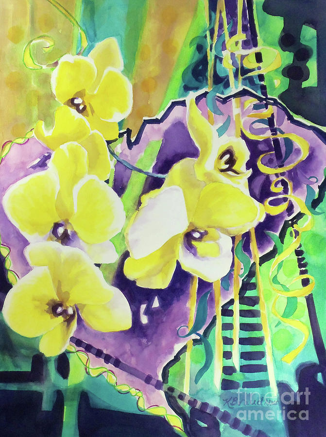 Yellow Orchids Of The Heart Painting  - Yellow Orchids Of The Heart Fine Art Print