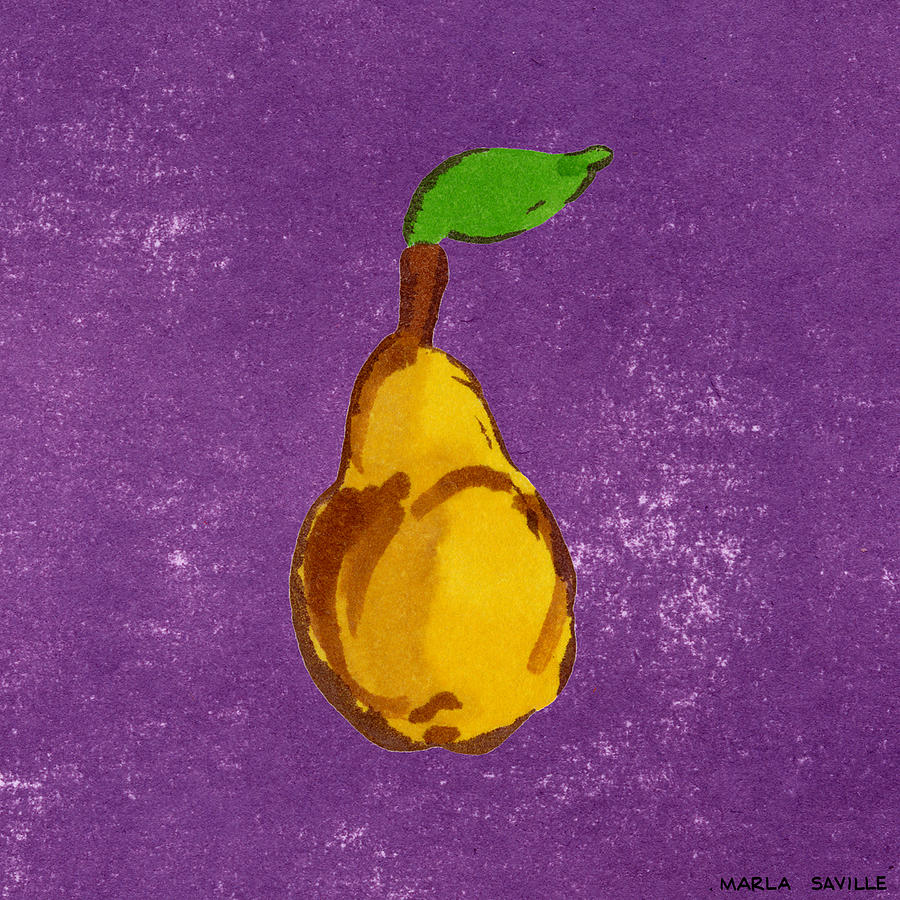 Yellow pear on purple painting by marla saville for Purple and yellow painting