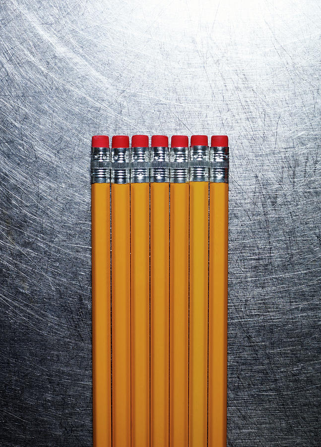Vertical Photograph - Yellow Pencils With Erasers On Stainless Steel. by Ballyscanlon