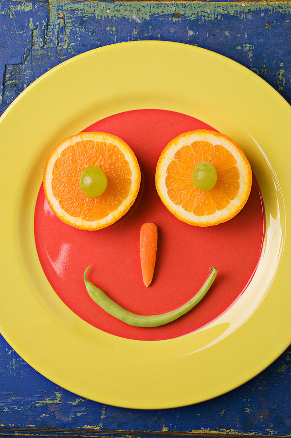 Yellow Plate With Food Face Photograph  - Yellow Plate With Food Face Fine Art Print