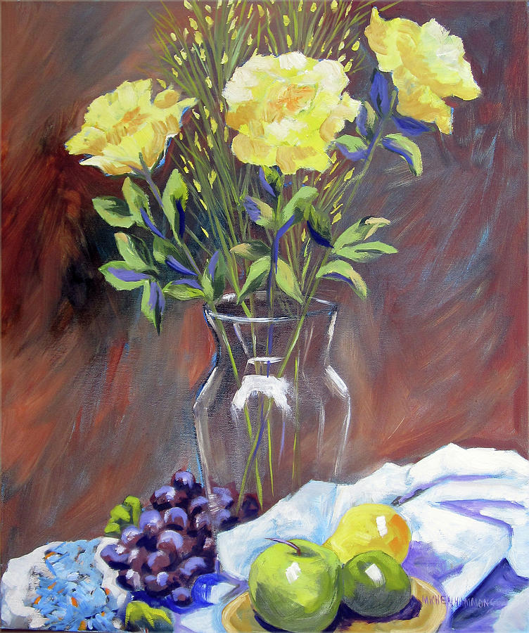 Yellow Roses Painting  - Yellow Roses Fine Art Print