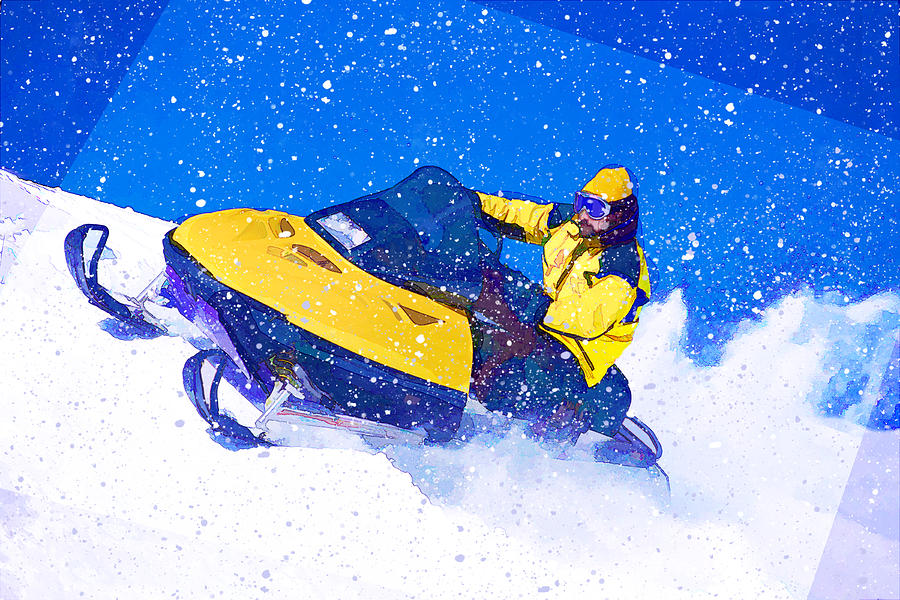 Snowmobile Painting - Yellow Snowmobile In Blizzard by Elaine Plesser
