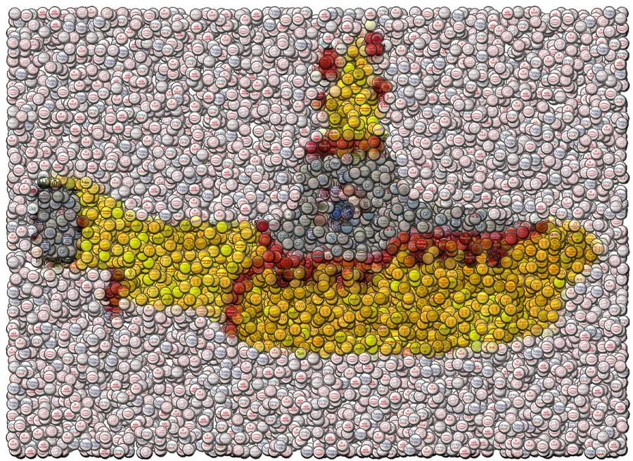 Yellow Submarine Bottle Cap Mosaic Digital Art  - Yellow Submarine Bottle Cap Mosaic Fine Art Print