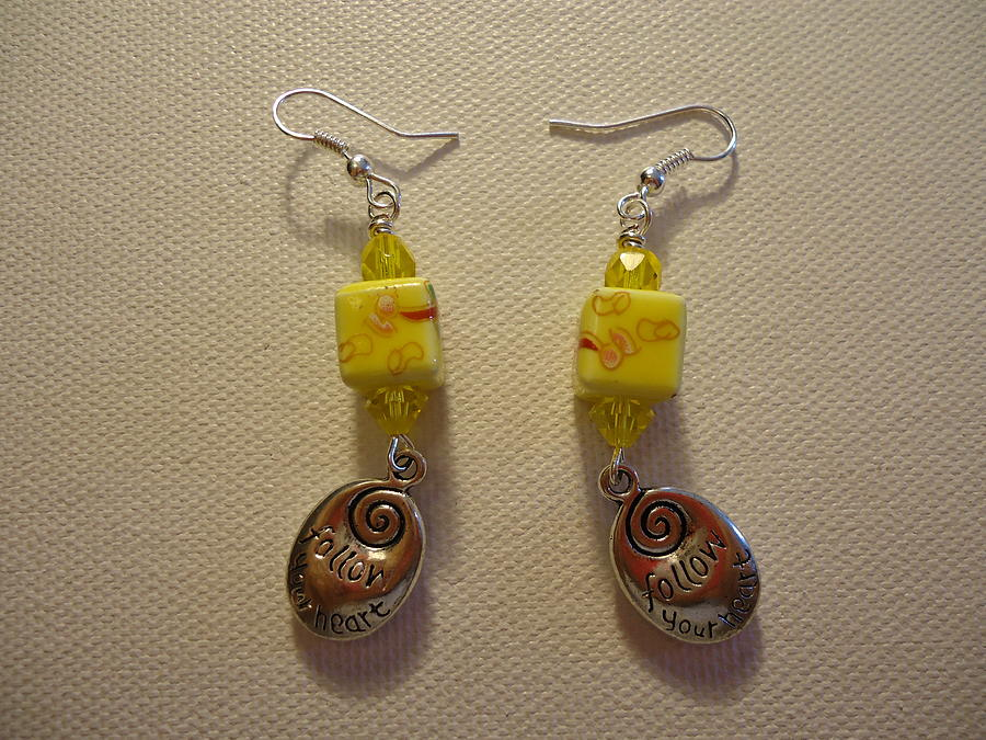 Yellow Swirl Follow Your Heart Earrings Photograph