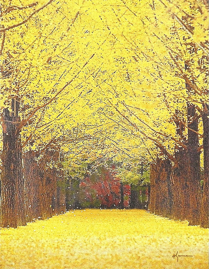 Yellow Trees Mixed Media  - Yellow Trees Fine Art Print