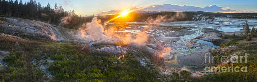 Yellowstone Norris Geyser Basin At Sunset Photograph  - Yellowstone Norris Geyser Basin At Sunset Fine Art Print