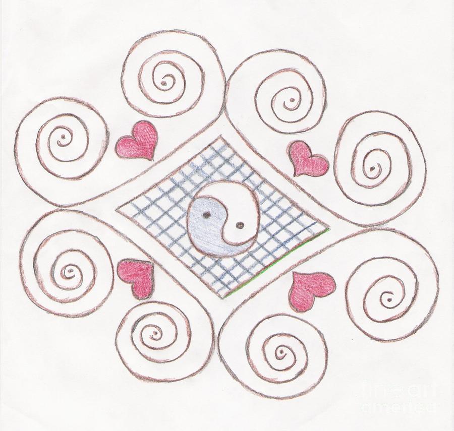 Yin Yang Swirls Pastel Drawing