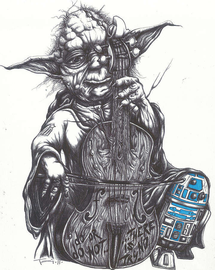 Yoda Soothes Baby R2 With The Charm Of His Homegrown Cello Drawing  - Yoda Soothes Baby R2 With The Charm Of His Homegrown Cello Fine Art Print