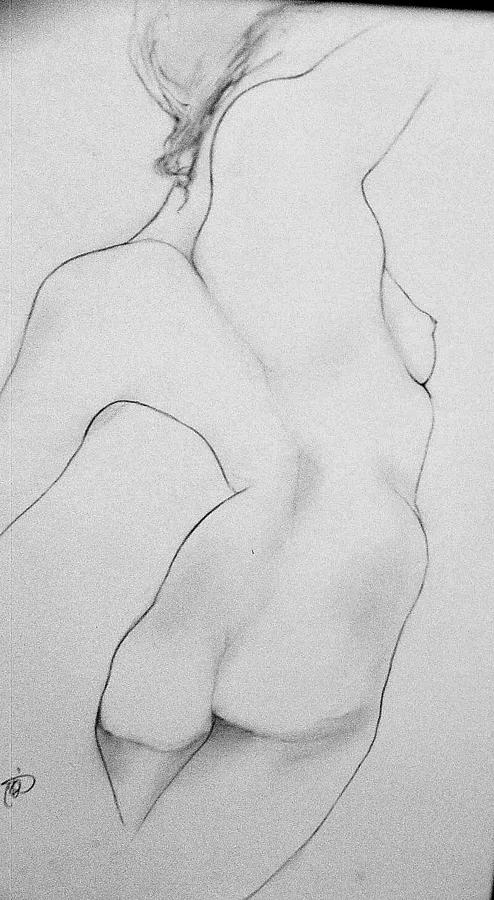 Nude.female. Drawing - Yoga At The Beaach. by Carole Osullivan