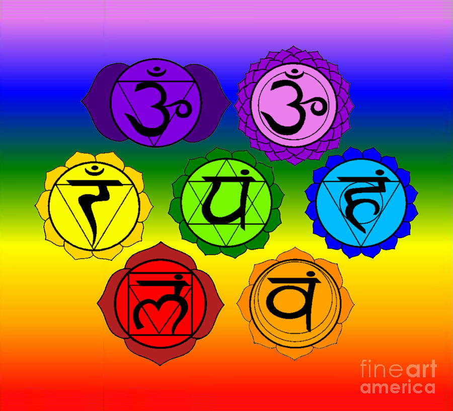 yoga reiki seven chakra symbols on rainbow background