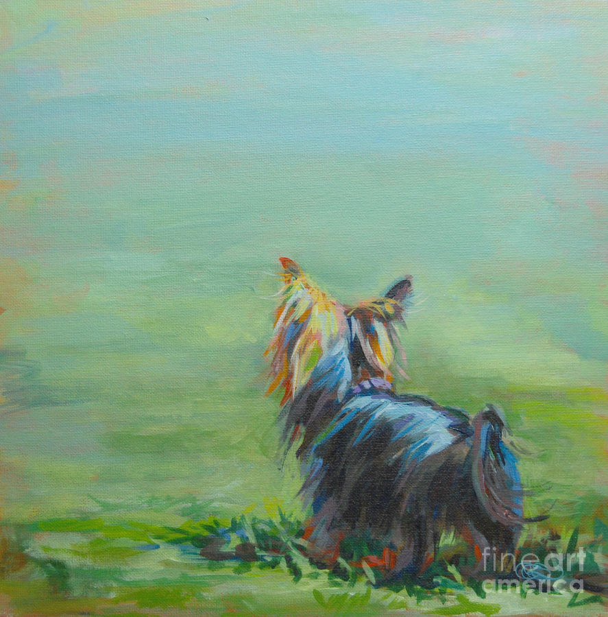 Yorkie In The Grass Painting  - Yorkie In The Grass Fine Art Print
