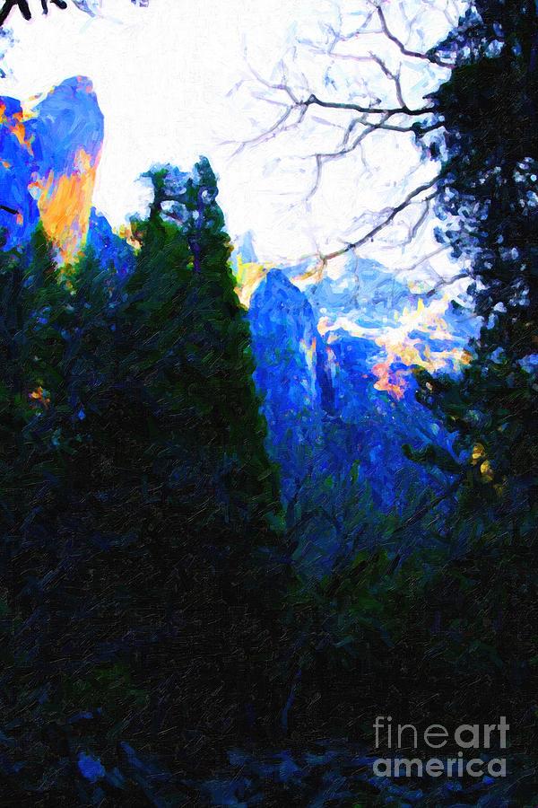 Yosemite Snow Mountain Tops . Vertical Cut Photograph
