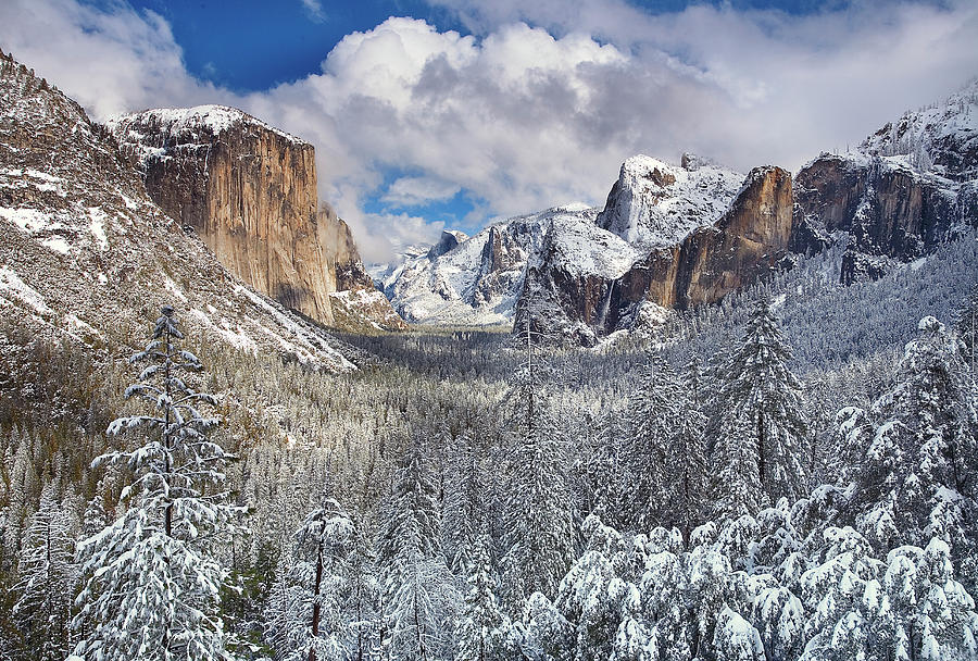 Yosemite Valley In Snow Photograph