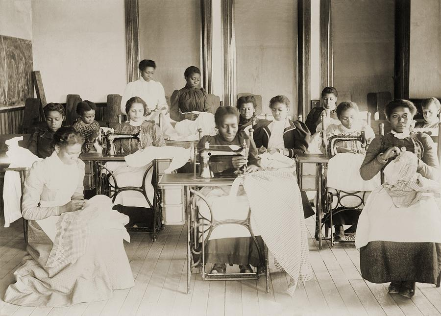 Young African American Women Sewing Photograph  - Young African American Women Sewing Fine Art Print