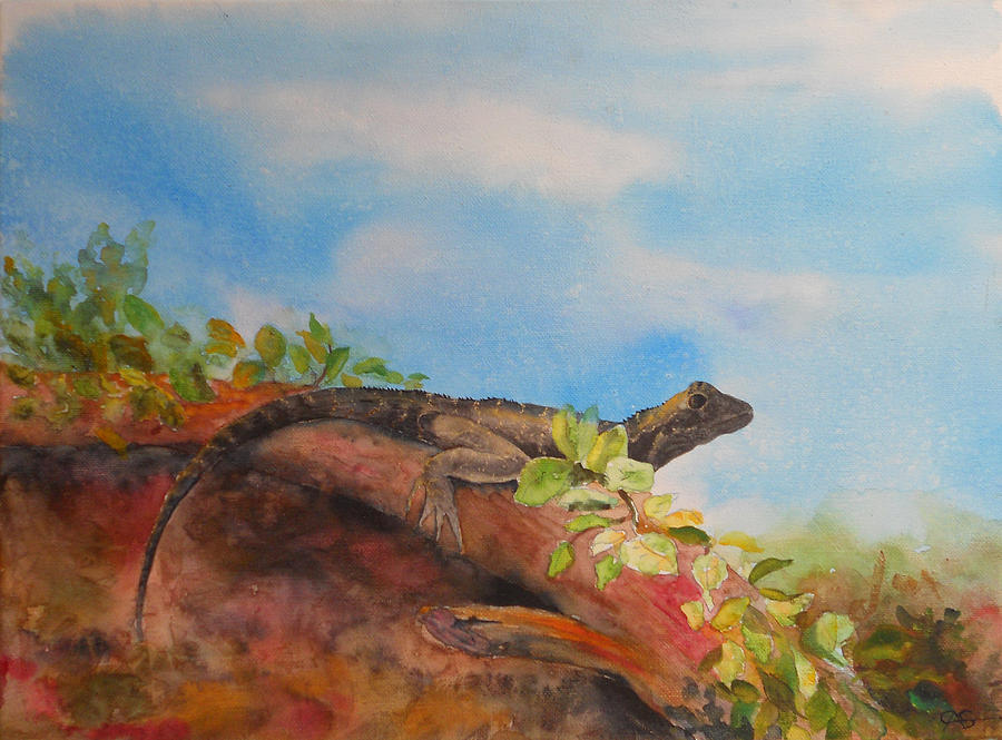 Young Australian Water Dragon Painting