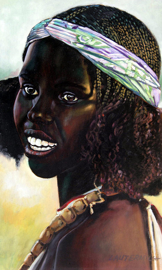 Young Black African Girl Painting