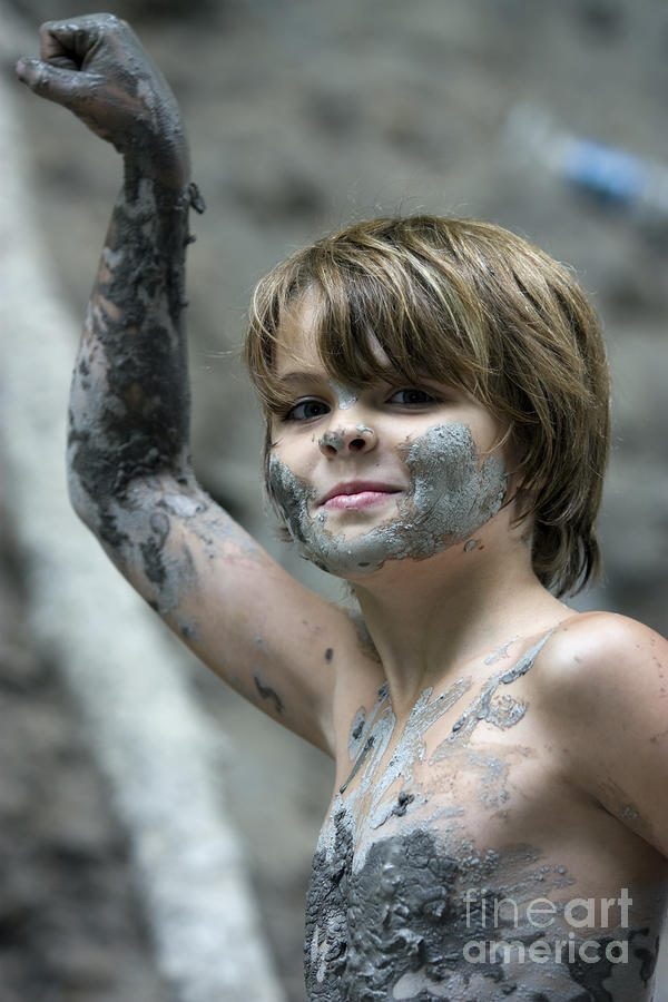 Young Boy Covered With Mud Photograph  - Young Boy Covered With Mud Fine Art Print