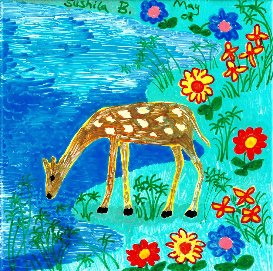 Young Deer Drinking Painting