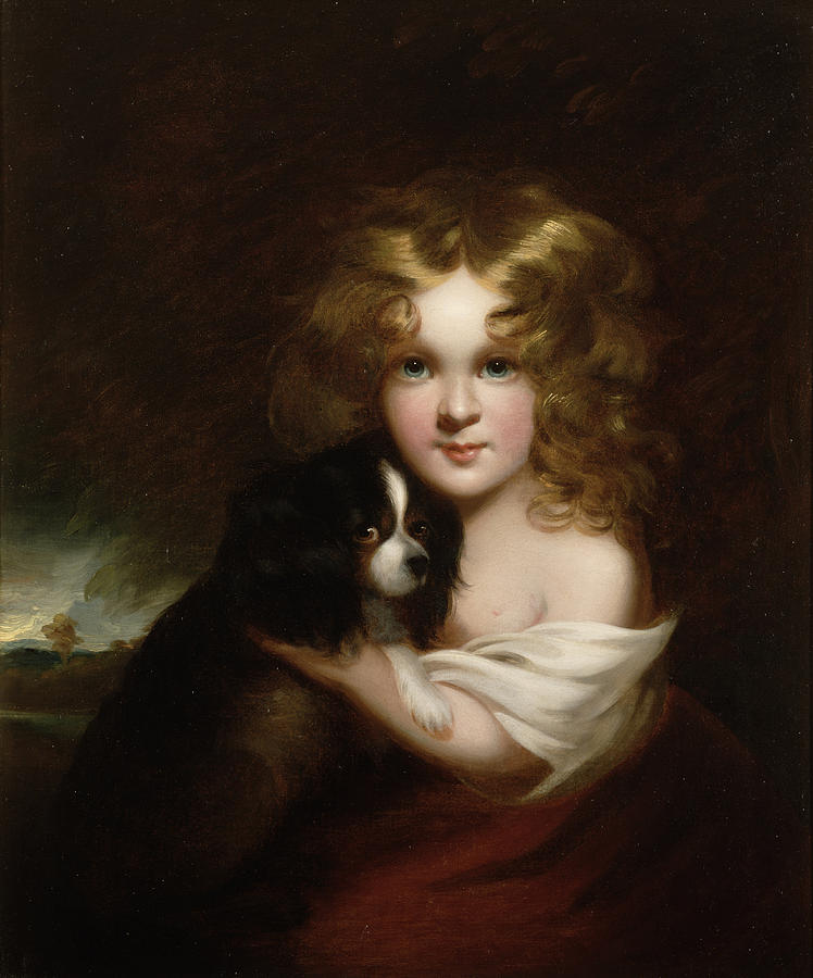 Young Girl With A Dog Painting  - Young Girl With A Dog Fine Art Print