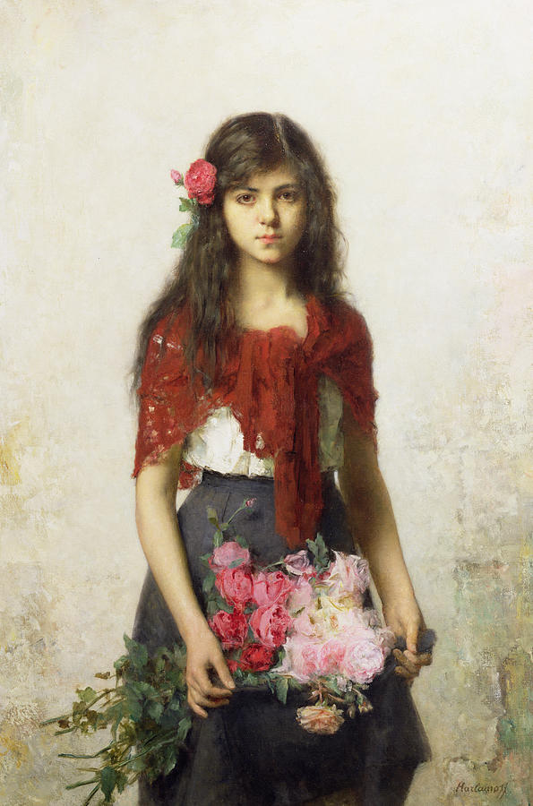 Young Girl With Blossoms Painting
