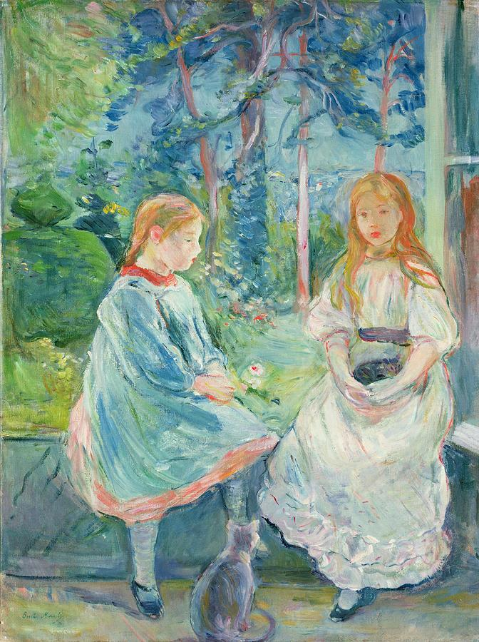 Young Girls At The Window Painting  - Young Girls At The Window Fine Art Print