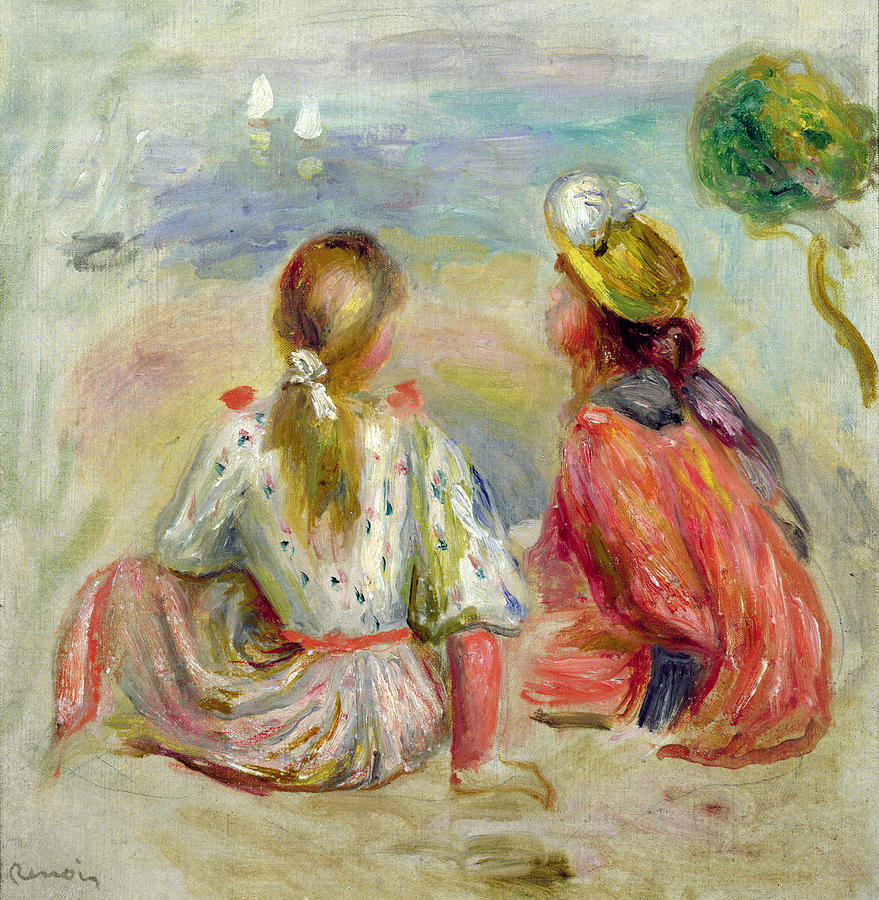 Jeune Filles Sur La Plage; Vacation; Holiday; Summer; Back View; Seaside; Sun Hat; Ponytail; Impressionist; Young Girls On The Beach Painting - Young Girls On The Beach by Pierre Auguste Renoir