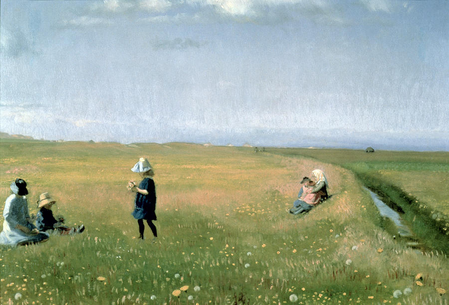 Young Girls Picking Flowers In A Meadow Painting  - Young Girls Picking Flowers In A Meadow Fine Art Print