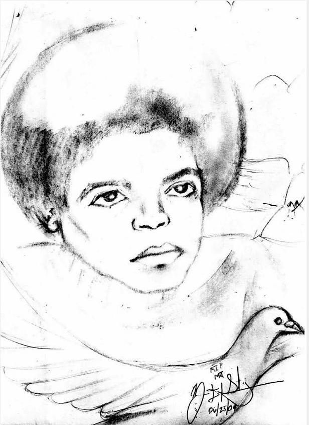 Young Micheal Jackson  Drawing  - Young Micheal Jackson  Fine Art Print
