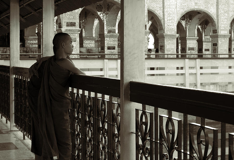 Young Monks In Mandalay Hill Photograph