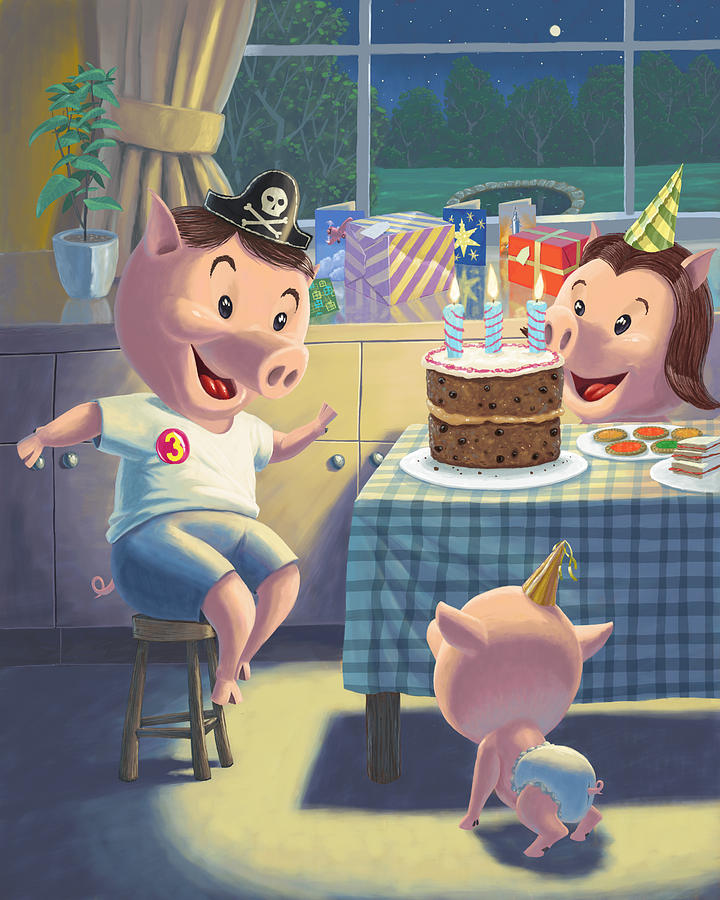 Young Pig Birthday Party Painting