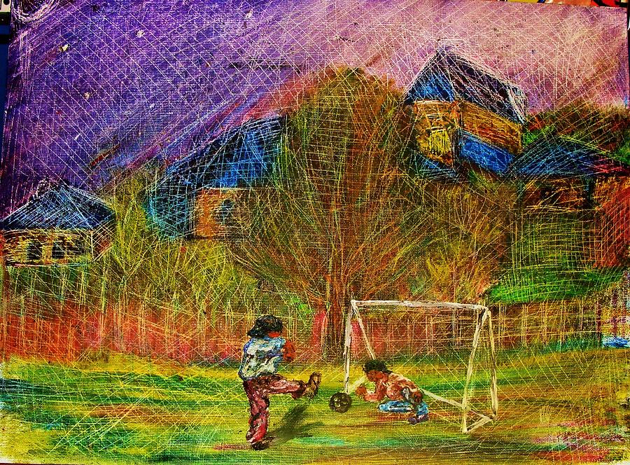 Football Painting - Young Soccer Players by Jeanne Mytareva