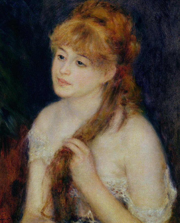 Young Woman Braiding Her Hair Painting