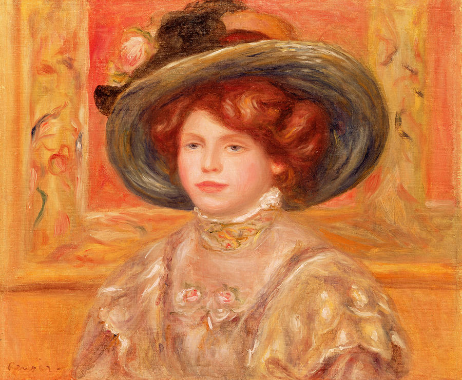 Young Woman In A Blue Hat Painting