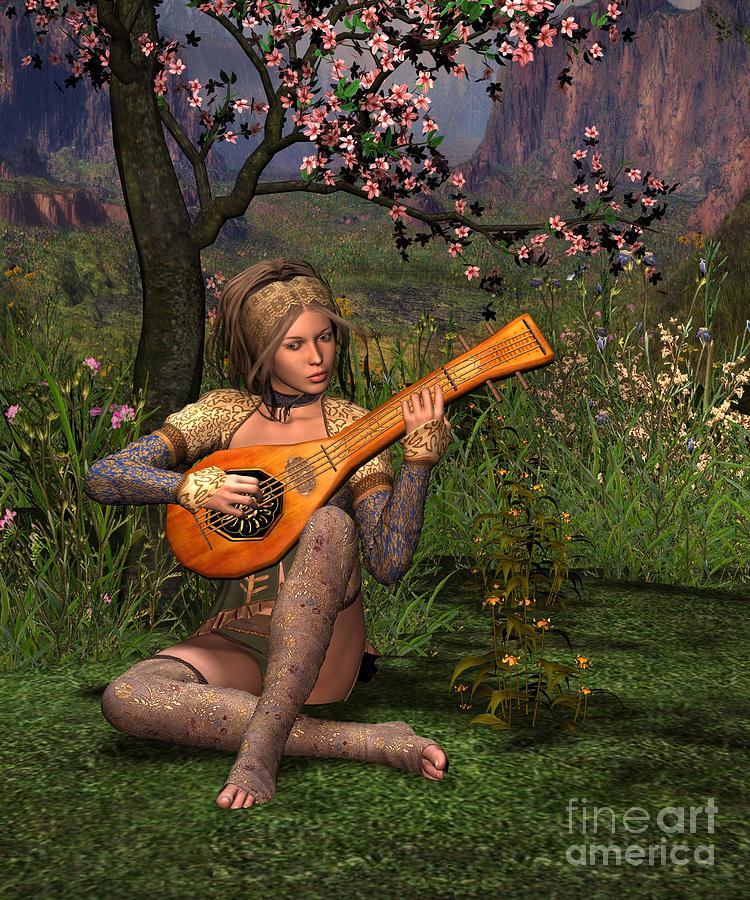Young Women Playing The Lute Digital Art  - Young Women Playing The Lute Fine Art Print