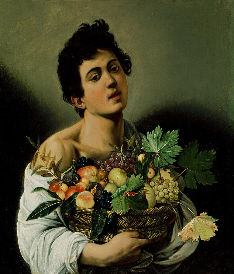 Youth With A Basket Of Fruit Painting  - Youth With A Basket Of Fruit Fine Art Print