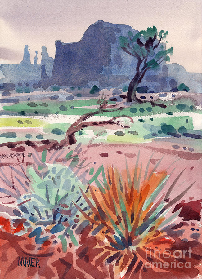 Yucca And Buttes Painting