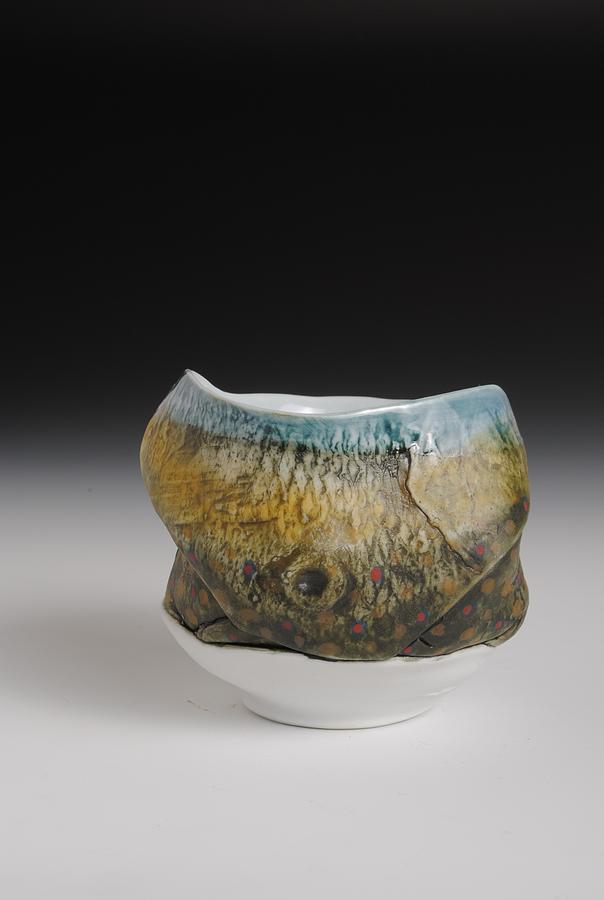 Porcelain Sculpture - Yunomi Tea Bowl  Hand Painted Brook Trout Tea Bowl  by Mark Chuck