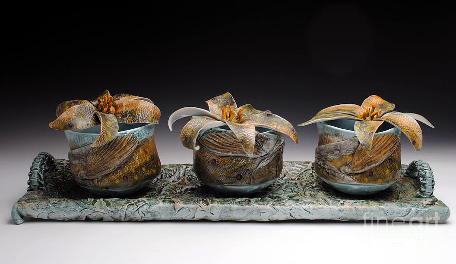 Water Sculpture - Yunomis With Trout Lilies  by Mark Chuck
