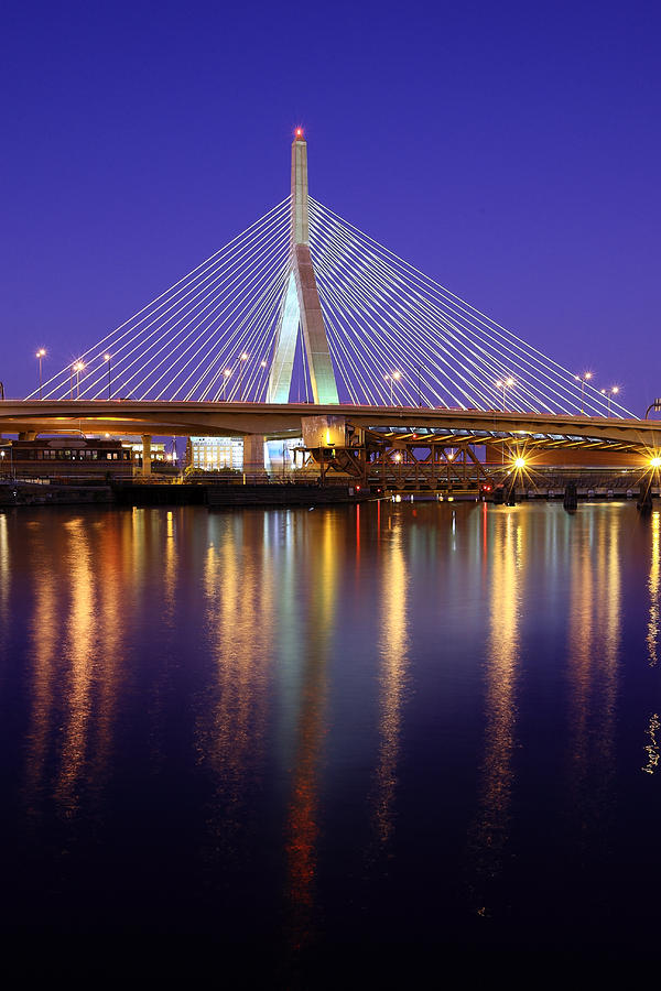 Zakim At Twilight II Photograph  - Zakim At Twilight II Fine Art Print