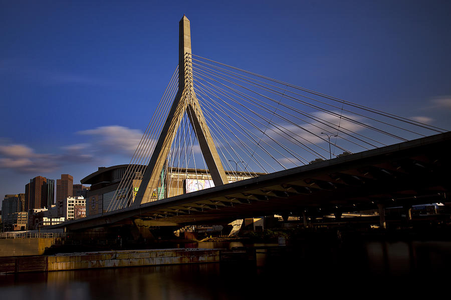 Zakim Bridge And Boston Garden At Sunset Photograph
