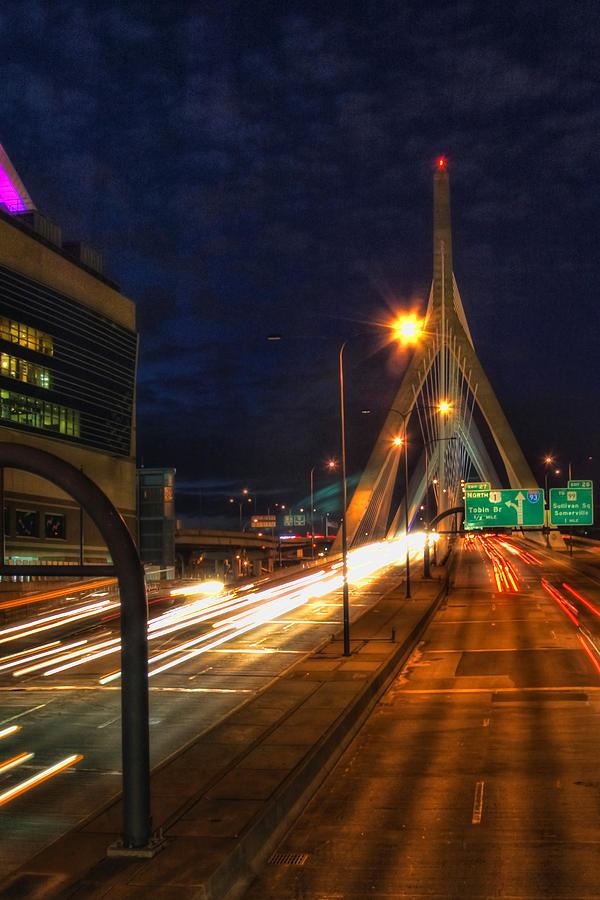 Bridge Photograph - Zakim Bridge At Night by Joann Vitali