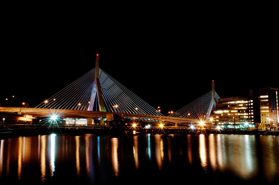 Zakim Over The Charles River Digital Art  - Zakim Over The Charles River Fine Art Print
