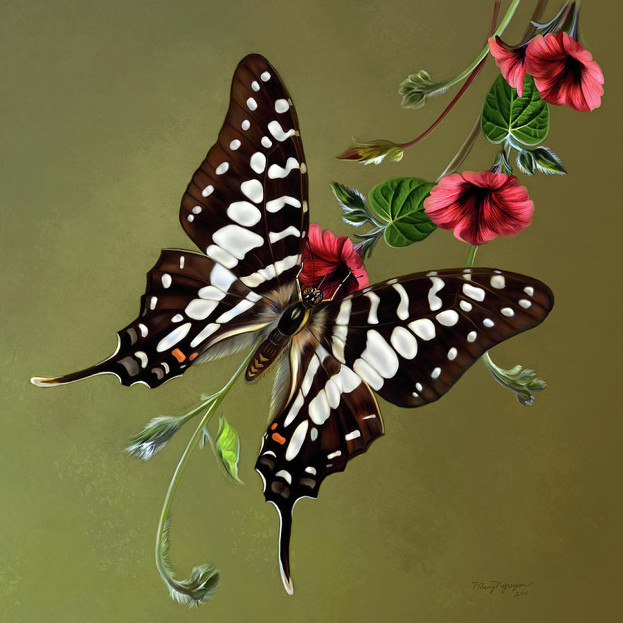 Zebra Swallowtail Butterfly Digital Art  - Zebra Swallowtail Butterfly Fine Art Print