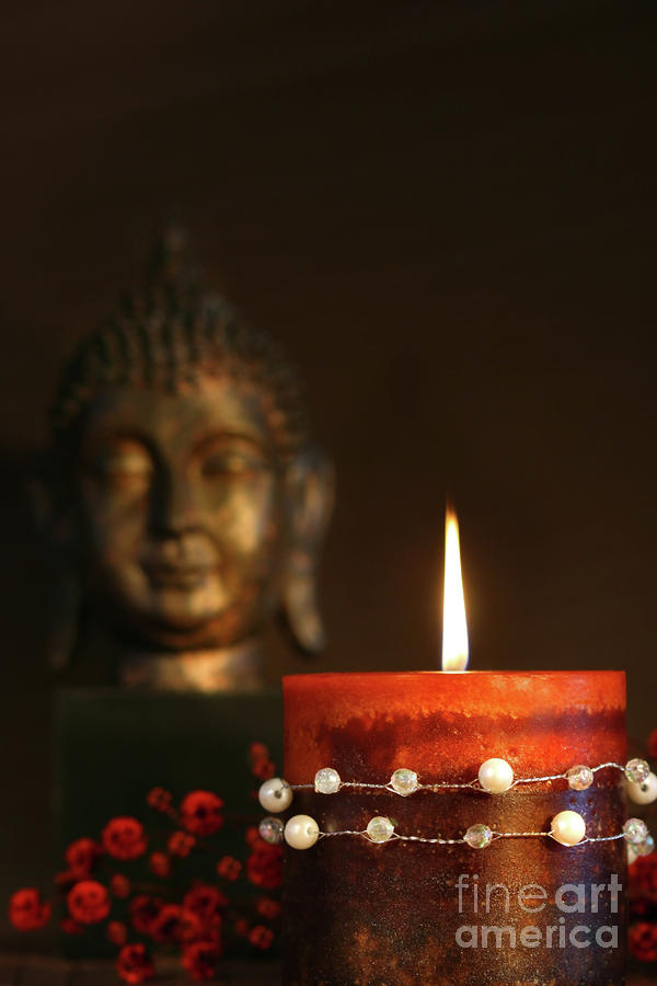 Zen Candle And Buddha Statue Photograph  - Zen Candle And Buddha Statue Fine Art Print