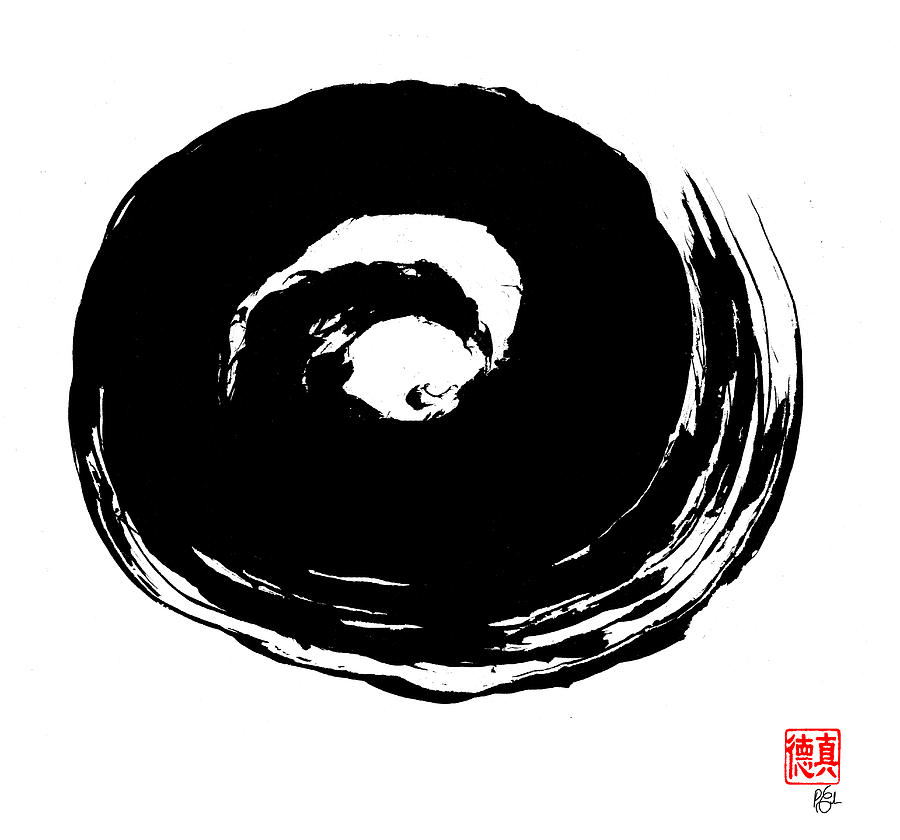Zen Circle Wave Painting  - Zen Circle Wave Fine Art Print